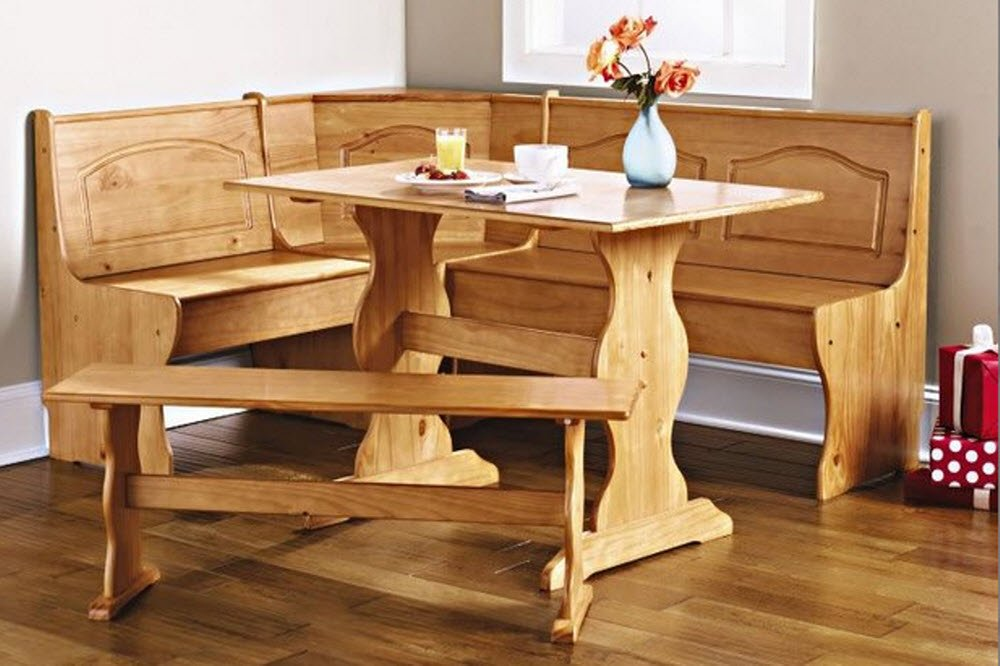 Amazon.com: Dining Nook Solid Pine Breakfast Set In Natural Finish With  Traditional Styling. Great For Eat In Dining Kitchens Dining Room Table  With Three ...