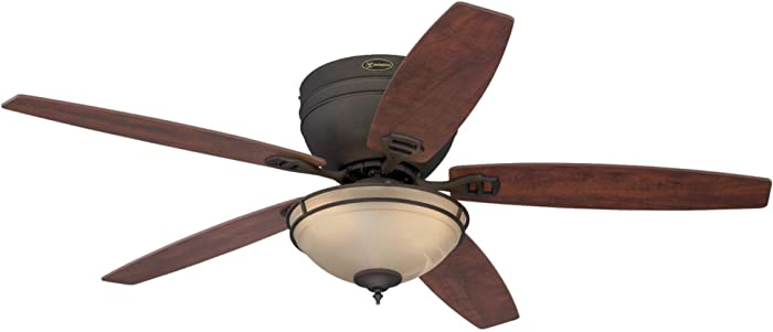 Westinghouse Lighting 7209600 Carolina 52-Inch Indoor Ceiling Fan, Light Kit with Amber Alabaster Bowl, Oil Rubbed Bronze with LED Bulbs