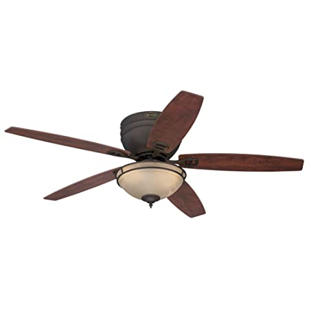 Westinghouse Lighting 7209600 Carolina 52-Inch Oil Rubbed Bronze Indoor Ceiling Fan, LED Light Kit with Amber Alabaster Bowl, Bulbs