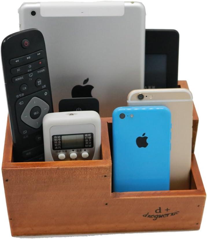 Vintage Wooden 3 Compartment Desktop Office Supplies Storage Organizer / Remote Control Caddy