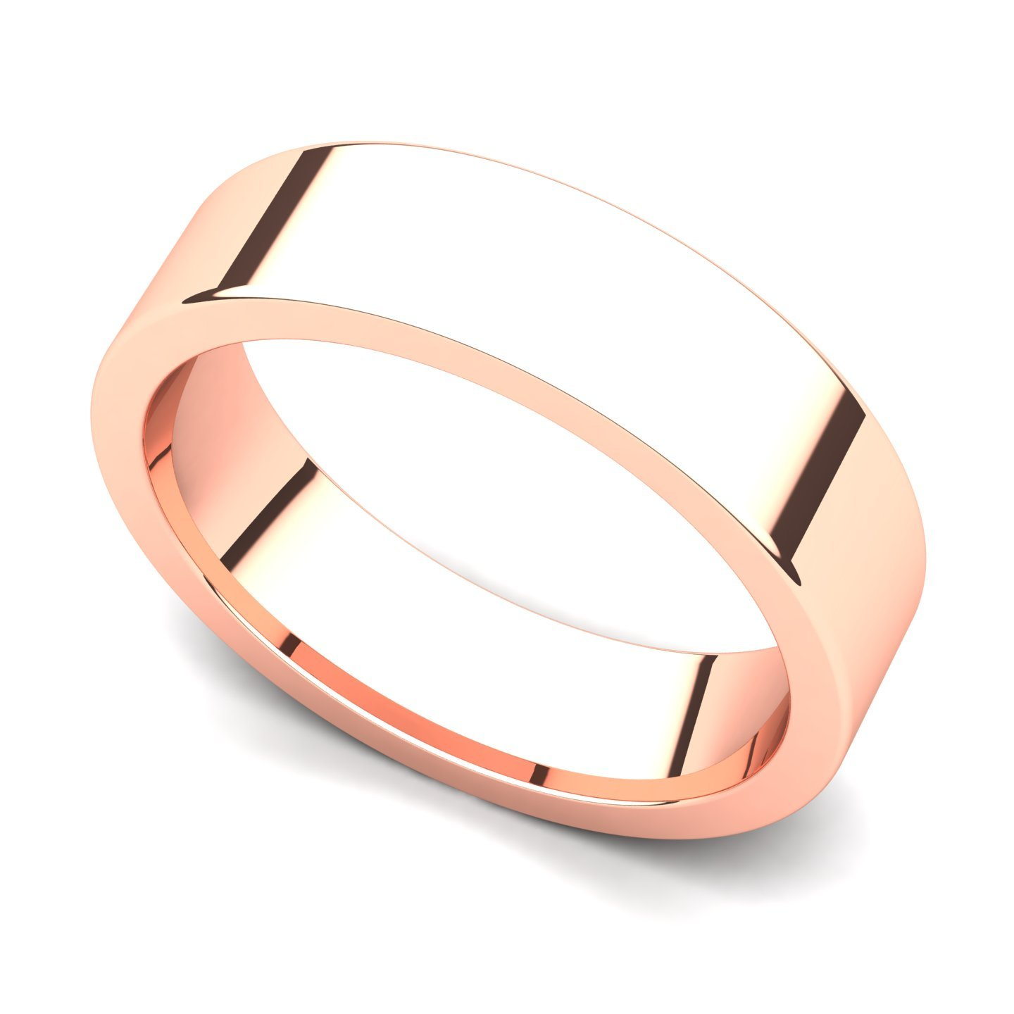 14k Rose Gold 5mm Classic Plain Flat Wedding Band Ring, 9