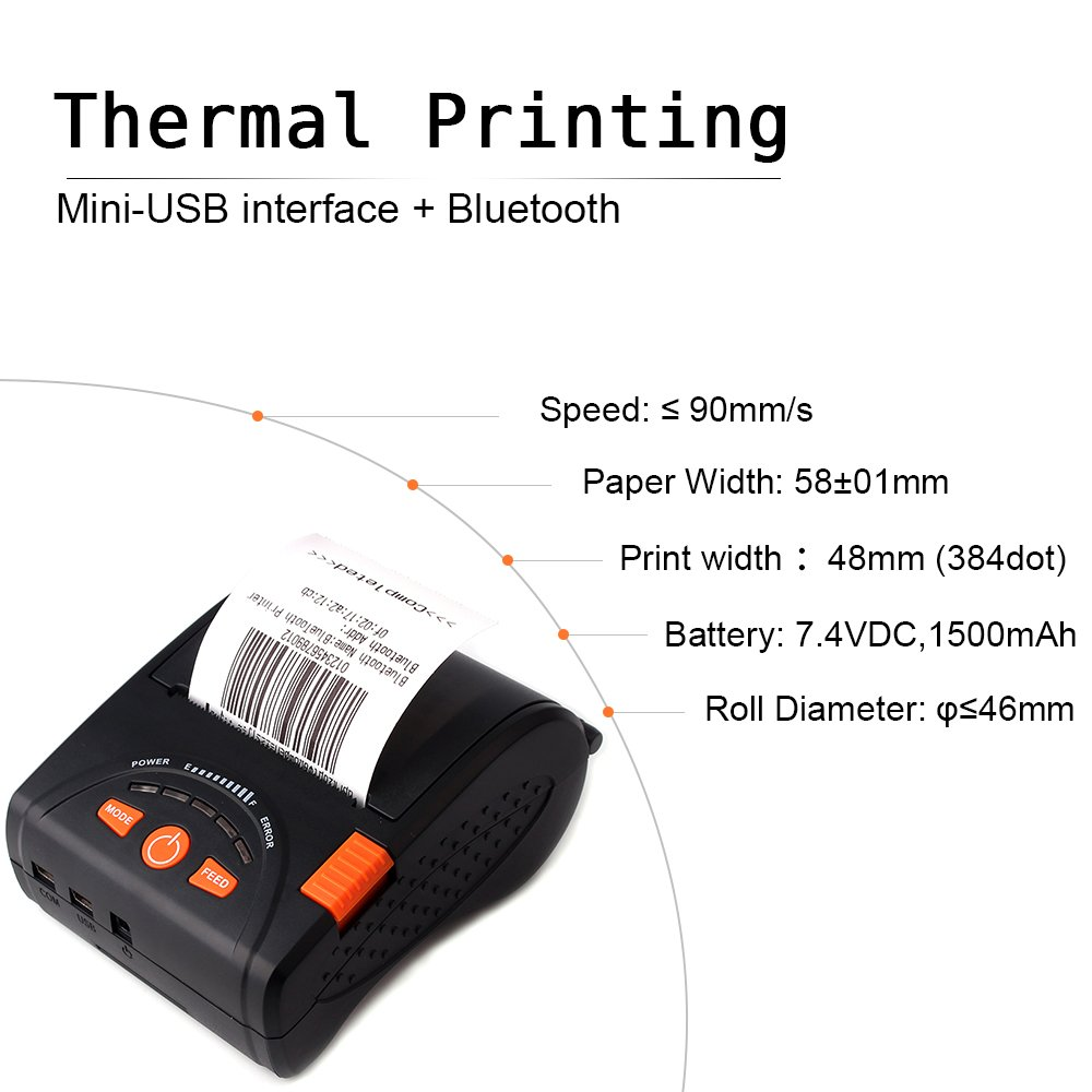 Stampante termica per ricevute Bluetooth MUNBYN 58 mm/stampante/per/Android/iPhone/iPad con cinturino in pelle e batteria ricaricabile Per le piccole imprese