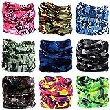 Surlim 9PCS boho Headband Multifunctional Headwear outdoor sports headwear Magic Scarf headbands headwrap UV Resistance, Bandana Face Mask for Hiking Camping Running Cycling Fishing. (Camouflage)