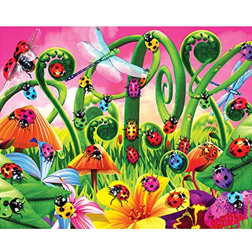 (Bduco DIY Diamond Painting Full Drill Rhinestone Embroidery for Wall Decoration, Ladybug, 40x30CM)