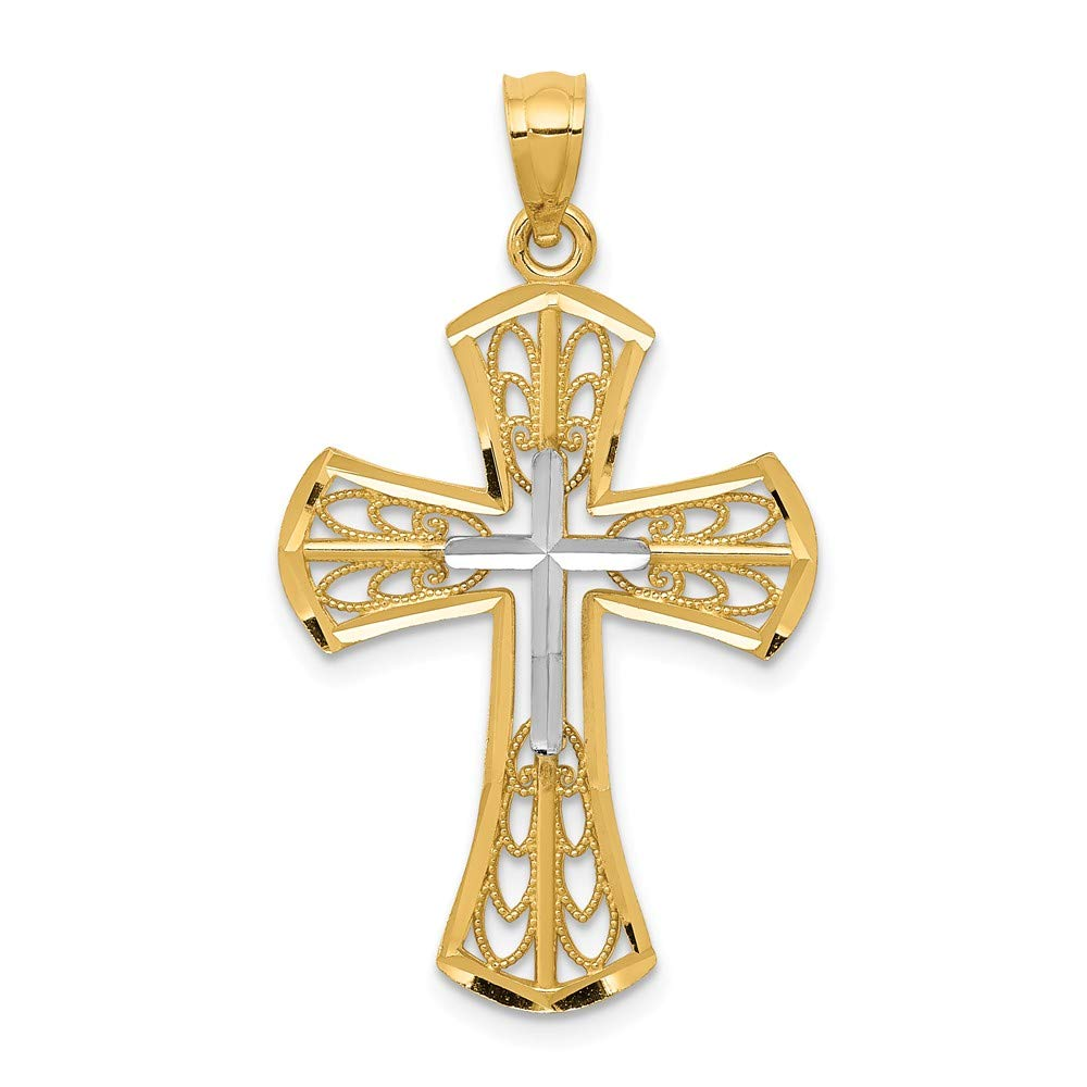 Mia Diamonds 14k Yellow Gold with Rhodium Polished Diamond-Cut Filigree Cross Pendant