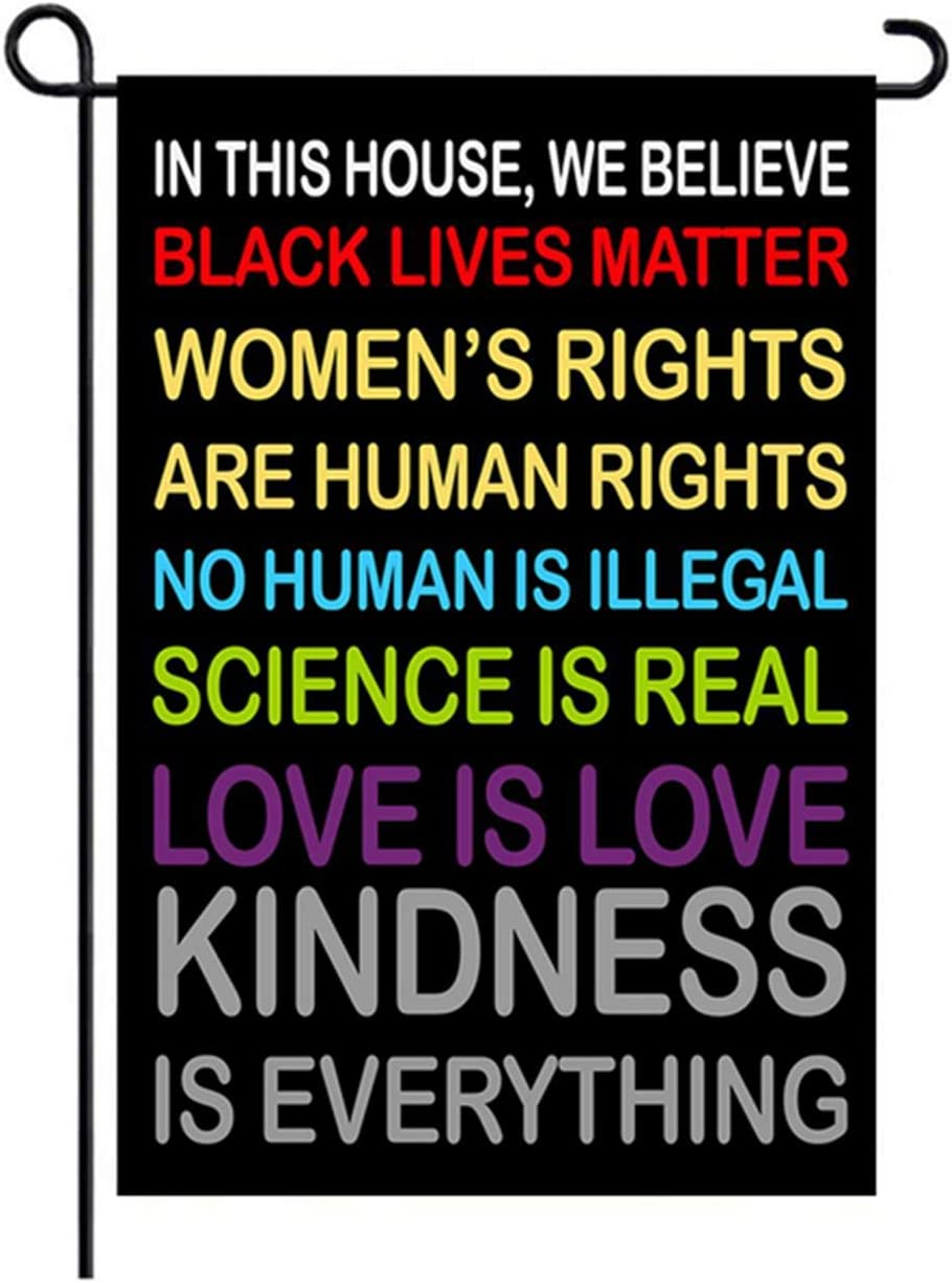in This House We Believe Yard Sign,Small Garden Flag Love is Love Woman's Rights Black Lives Human Rights Cience is Real Flag Double Sided 12 x 18 Inch Yard Outdoor Sign Decor (Black)