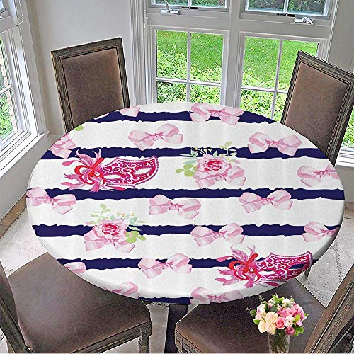 Round Pink Venetian Mirror - Mikihome Chateau Easy-Care Cloth Tablecloth Venetian Carnival Masks Striped with Satin Bows Rose Flowers 31.5