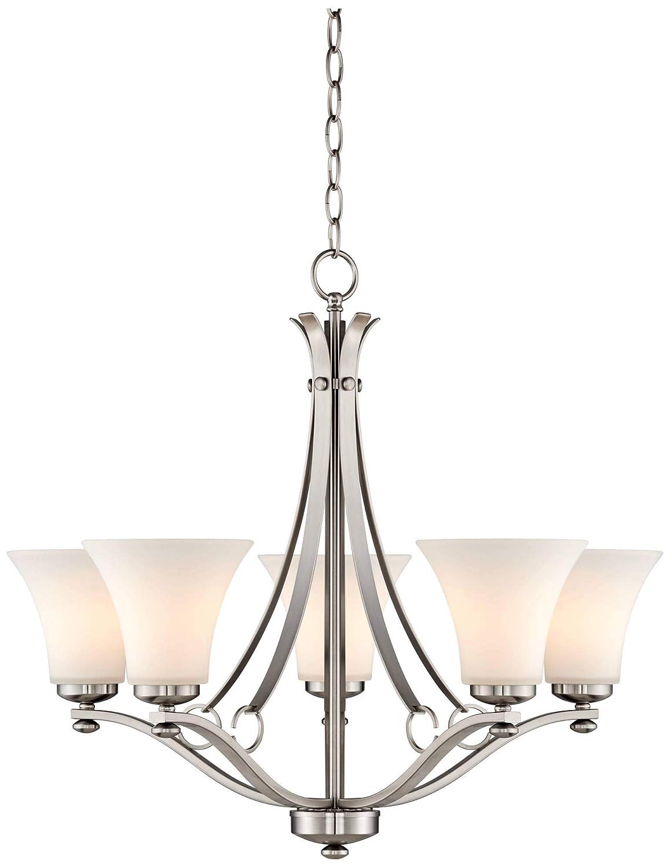 Bollyn Nickel White Glass 26 1 2 W 5-Light Chandelier – Possini Euro Design
