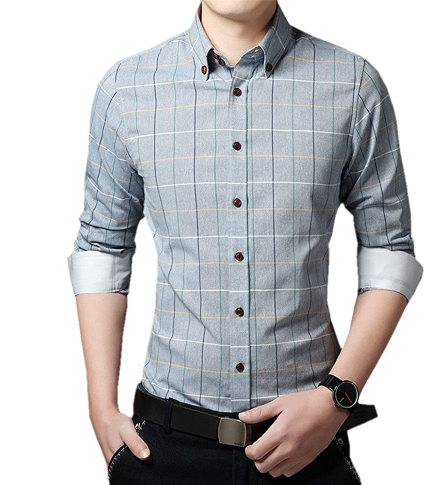 COCO clothing Otoño Primavera Camisa Hombre Enrejado Blusa Tops Cuello Italiano Casual Camiseta Shirt Oficina Caballero (azul, M): Amazon.es: Ropa y accesorios