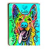Artehouse 0004-8594-31 ''Love and a Dog - Planked Wood'' Wall Decor by Art Licensing - Dean Russo, 25'' x 34'' x 1''