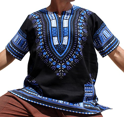 RaanPahMuang Brand Unisex Bright African Black Dashiki Cotton Shirt, X-Large, Blue/Black by Raan Pah Muang