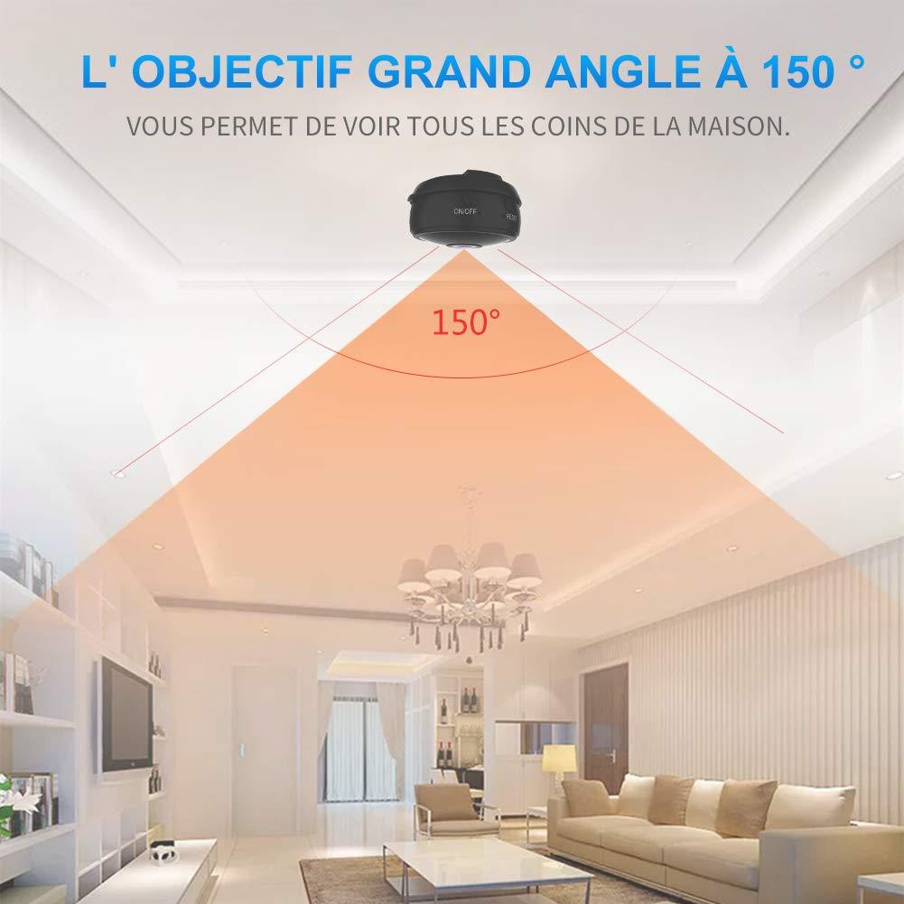 Full HD 1080P Cam/éra Cach/ée Spy sans Fil avec Vision Nocturne et D/étection de Mouvement Micro Cam/éra de Surveillance de S/écurit/é B/éb/é Mini Camera Espion WiFi