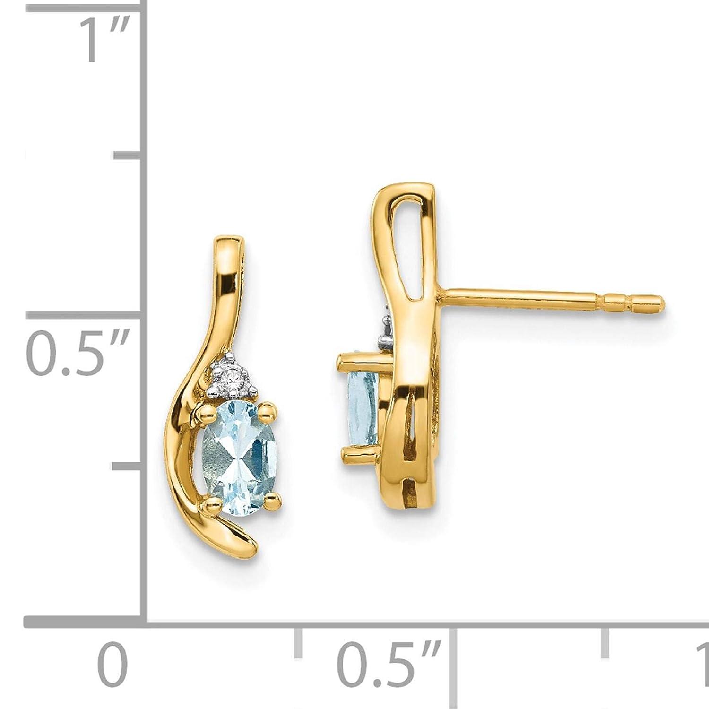 14K Yellow Gold Diamond /& Oval Aquamarine March Stone Post Earrings