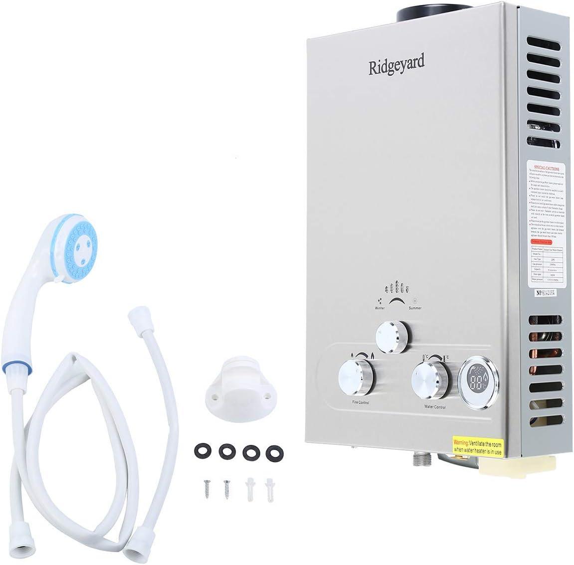 Ridgeyard 10L LPG Propane Gas Warmwasserbereiter Durchlauferhitzer Boiler Xmas