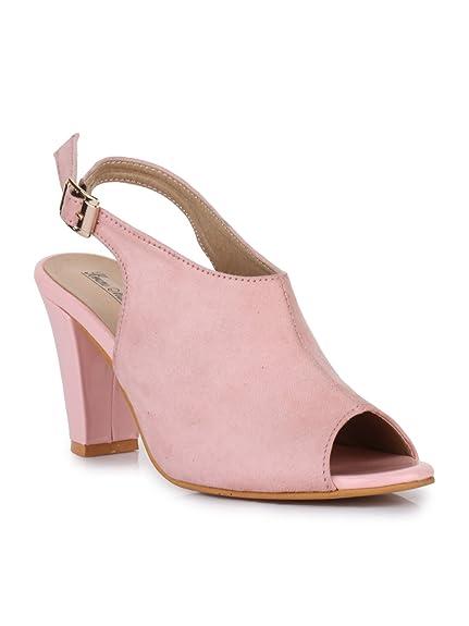 c6c9fd10955 Bruno Manetti Women (1213) Pink Suede Leather Block Heel