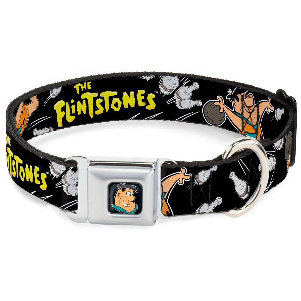 Buckle-Down Seatbelt Buckle Dog Collar The Flintstones Fred Bowling Poses Bowling Pins Black 1.5  Wide Fits 18-32  Neck Large