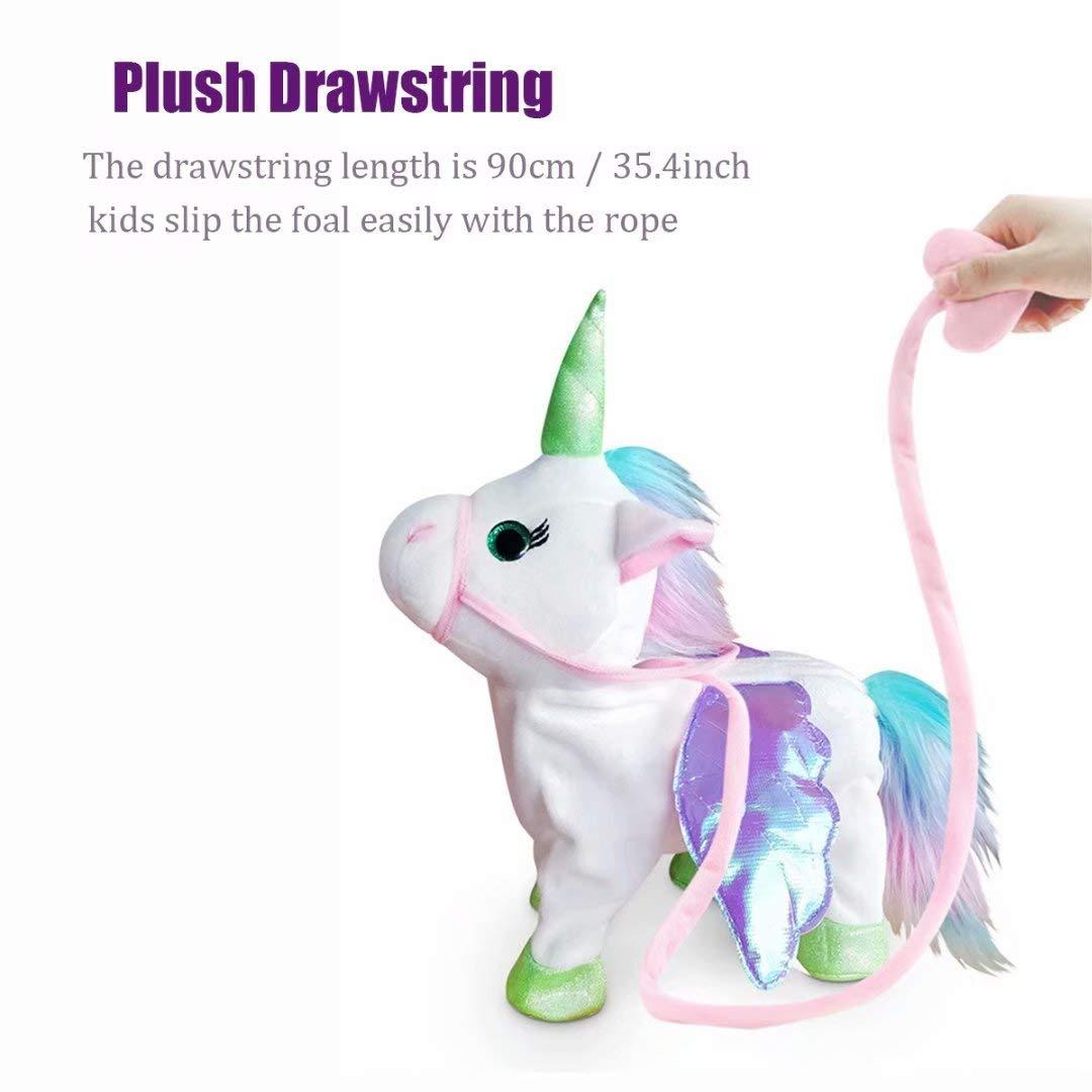 qiaoniuniu Electronic Pet Unicorn - Pink Small Pegasus - Stuffed Unicorn ,Singing Walking Musical Cute Plush Toys for Toddlers Girls Boys,Kids & Pets Birthday by qiaoniuniu (Image #5)