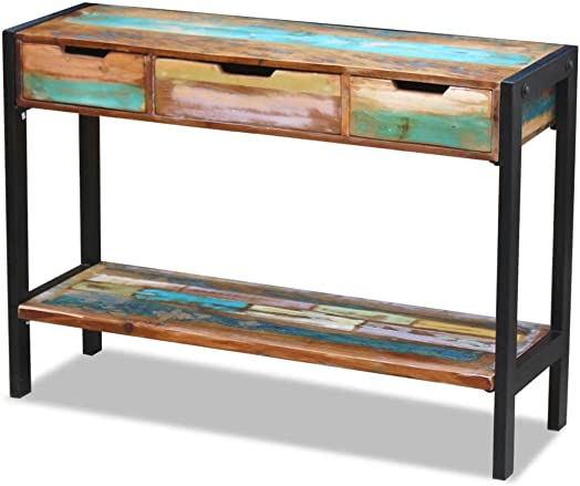Festnight Rustic Console Table with 3 Storage Drawers and Shelf Steel Frame Sideboard Entryway Hallway Living Room Home Furniture Reclaimed Wood Handmade 43.3 x 13.8 x 31 L x W x H