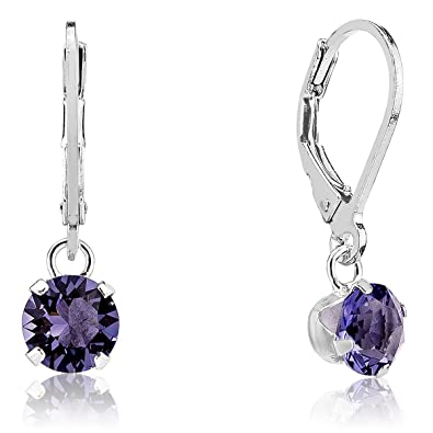 5b74b2baf0d77 DTPSilver - 925 Sterling Silver and Swarovski Crystal Elements 6 mm Round  Dangle Leverback Earrings - Many Colours Available