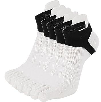 calcetines hombre cortos Sannysis calcetines tobilleros hombre, calcetines de punta pack 5 pares (blanco