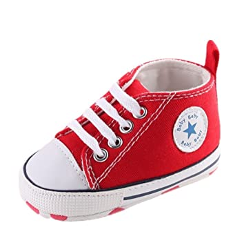 Amazon.com : Baby Shoes Auxma Baby Canvas Sneaker Antiskid Soft Trainer Shoes Prewalker Shoes for 3-18Month (13cm.12-18 M, Red) : Baby