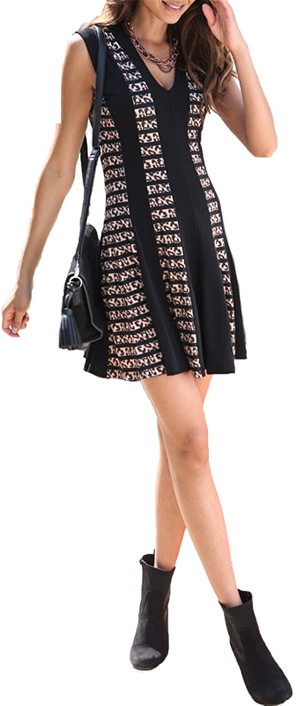 Loftyfly Fashion New Fashion Hot Sale Women Casual Dresses Sheath Leopard V-Neck Above Knee Sleeveless Chiffon Dress 1102