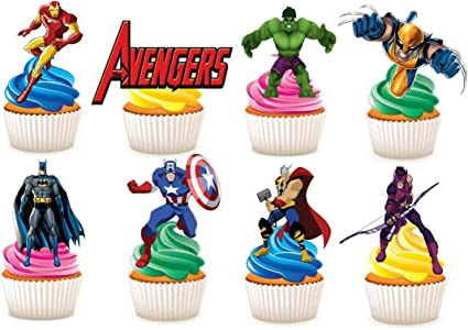 Avengers stand up edible cupcake toppers