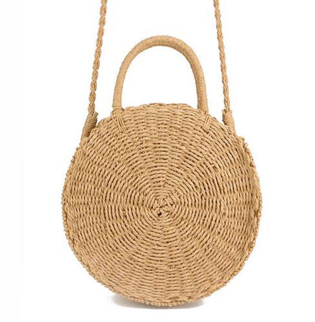 Zognsi Round Straw Beach Bag Summer mini Vintage Handmade Crossbody Bag Circle Rattan bag Small Bohemian Shoulder bag for women (Khaki 2)
