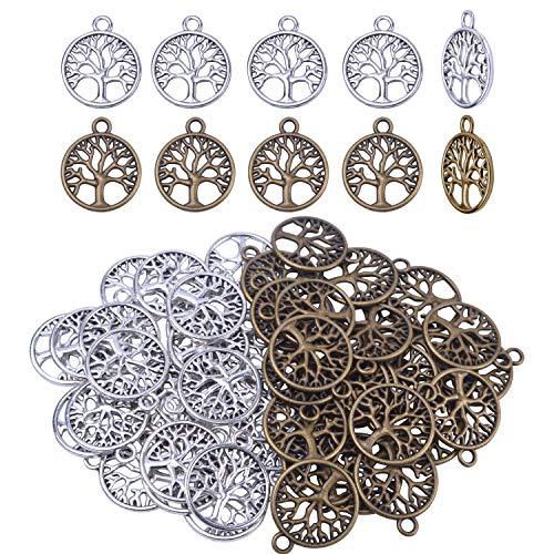 (BronaGrand 50pcs Life Tree Necklace Pendant Bracelet Charms DIY Jewelry Findings)