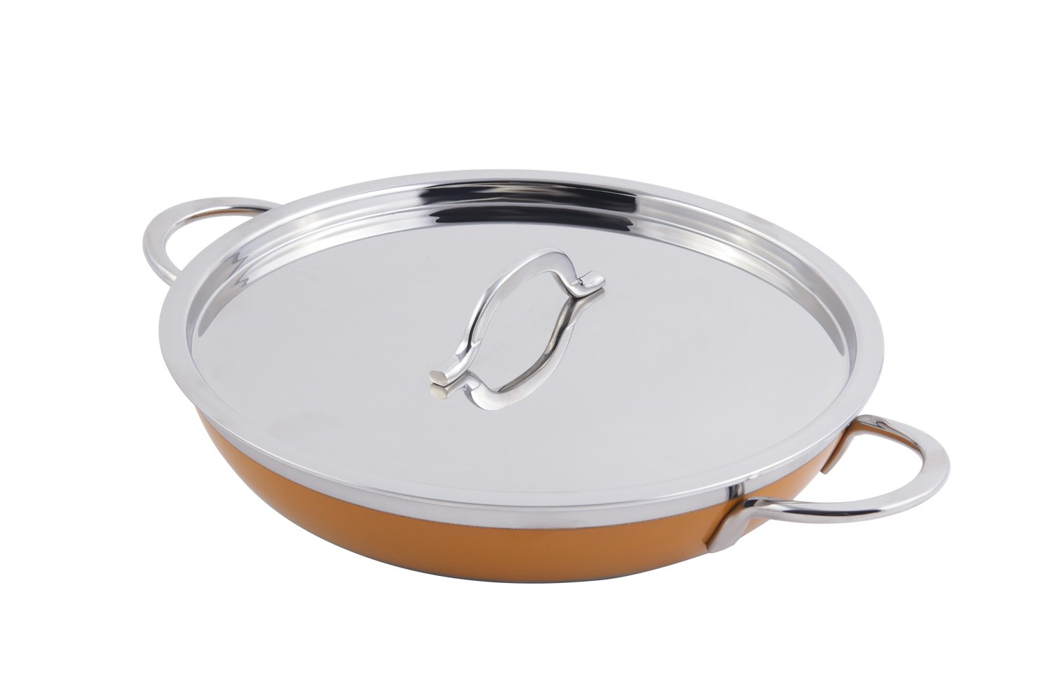 Bon Chef 60306 Stainless Steel/Aluminum Classic Country French Collection Saute Pan/Skillet with Cover and Double Handle, 3-1/8 quart Capacity, 11-5/8'' Diameter x 2-3/8'' Height, Yellow