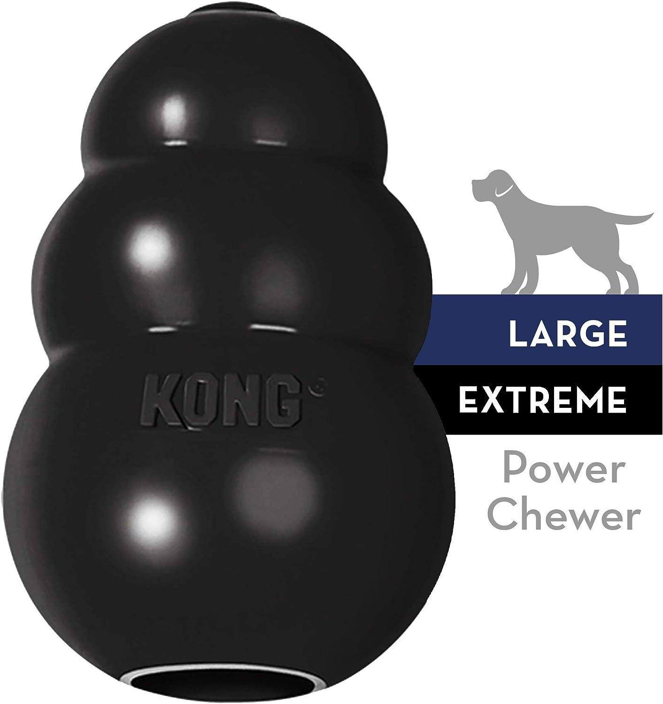 KONG - Extreme - Juguete de robusto caucho natural negro - Para morder, perseguir o buscar - Raza L