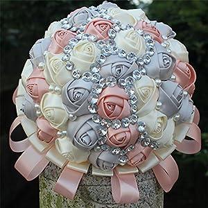 USIX Handcraft Elegant Satin Rose Rhinestone Crystal Pearl Bridal Holding Wedding Bouquet Wedding Flower Arrangements Bridesmaid Bouquet 54