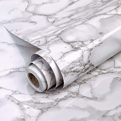 Jaamso Royals White Marble Contact Paper Granite Waterproof