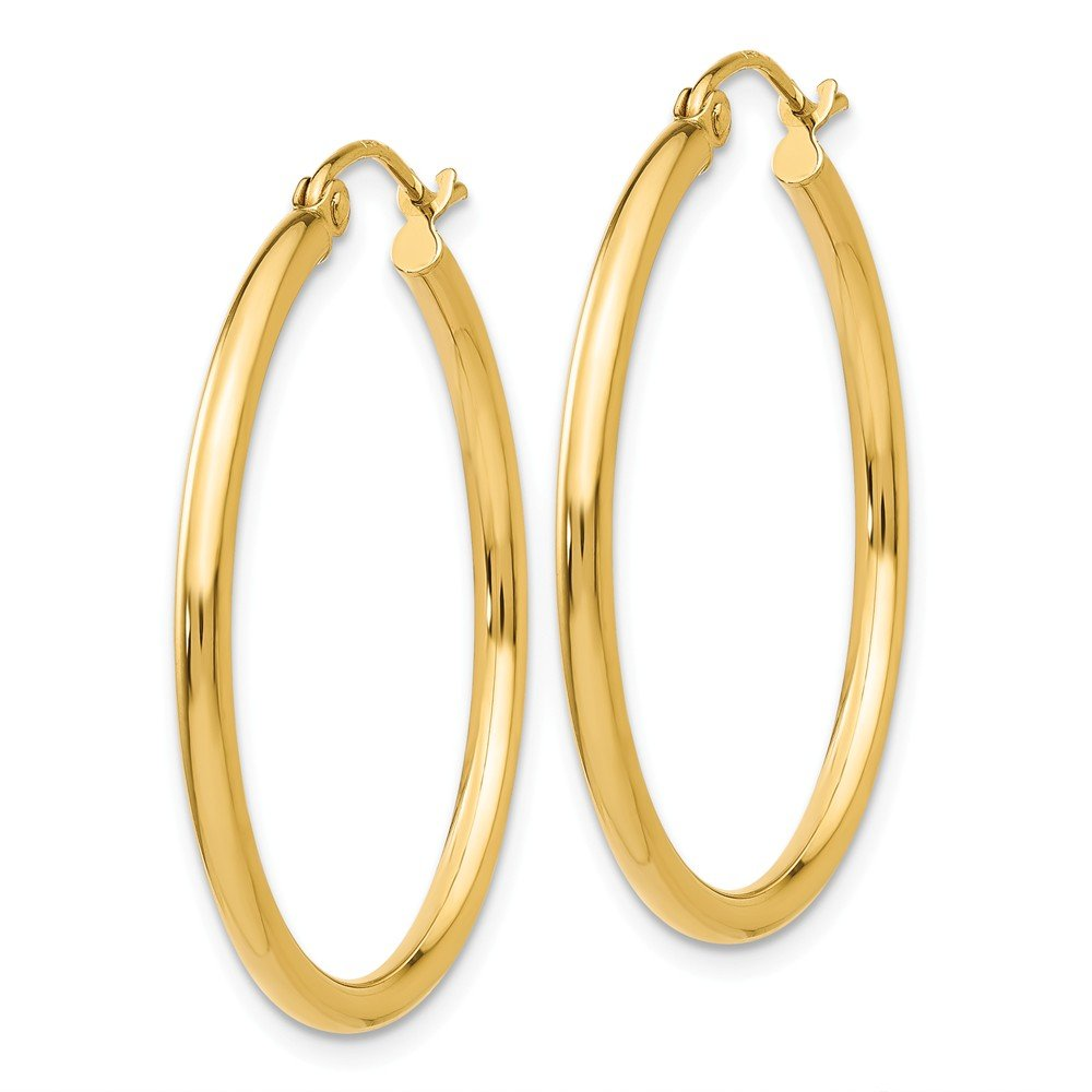 "Designs by Nathan, Classic 14K Yellow Gold Tube Hoop Earrings: Seamless, Hollow, and Lightweight (Regular 2mm x 30mm (about 1 3/16"")) by Designs by Nathan"