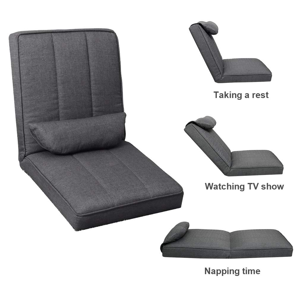 Best-Living Furniture Chairs Support for Adult Folding Jack Seating with Adjustable Padded Back for Meditation, Gaming,Watching TV, Hardwood Floor, Grey