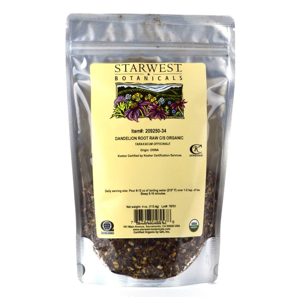 Starwest Botanicals Organic Raw Dandelion Root Tea [4 Ounces] Bulk Cut & Sifted (C/S) Loose Tea by Starwest Botanicals