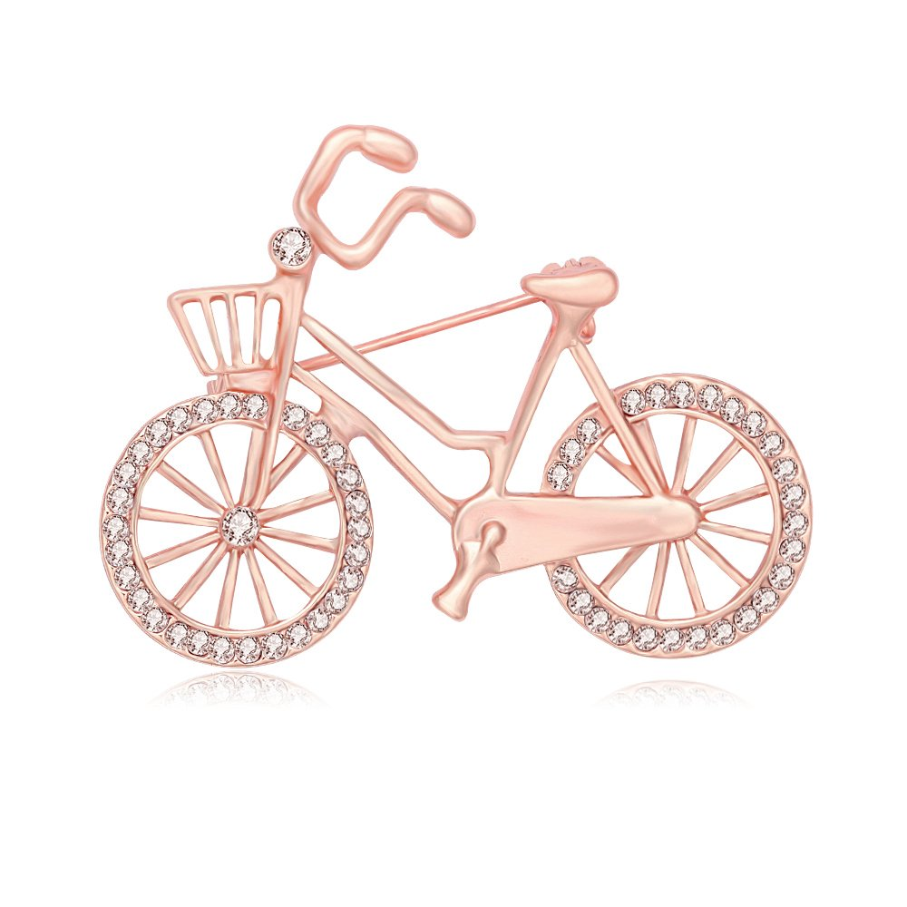 SENFAI Sports Style Gold Color Bike and Bicycle Brooch for Sportsperson (rose gold)