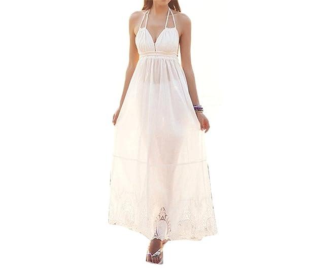 Paule Trevelyan NEW venda quente de verão longo branco backless maxi vestido de algodão bordado das