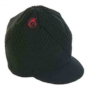2fa27a8e46 Born to Love Knuckleheads - Black Boy's Baby Visor Beanie Hat with Stripes  Detail