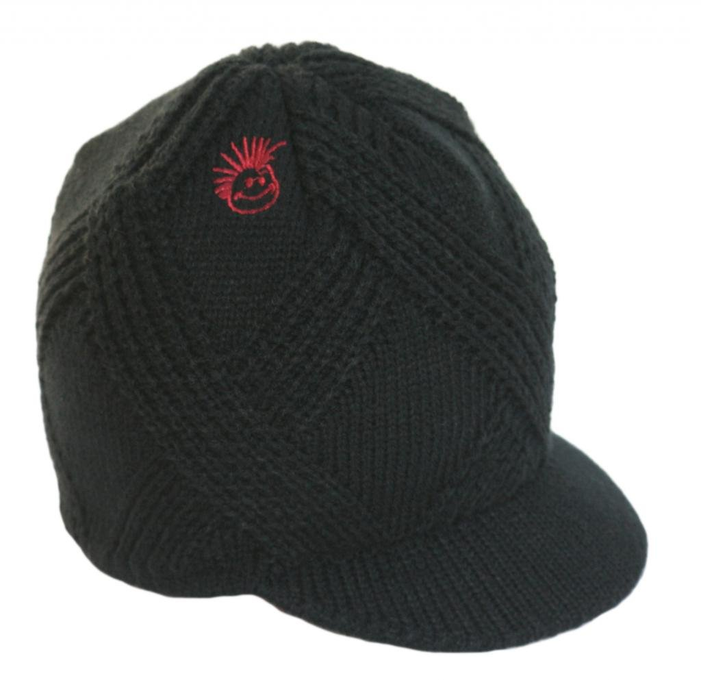 Born to Love Knuckleheads - Black Boy's Baby Visor Beanie Hat With Stripes Detail L (3-8 T)