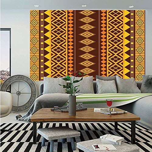Primitive Wall Mural,Vertical African Geometric Ornate Bound Triangle and Diagonal Shapes Art Print,Self-Adhesive Large Wallpaper for Home Decor 83x120 inches,Brown Yellow ()