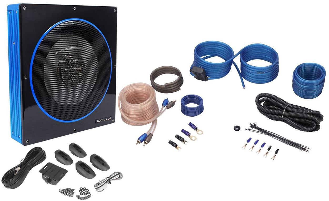 Rockville RW10CA 10'' 800 Watt Under-Seat Slim Amplified Car Subwoofer +Wire Kit by Rockville
