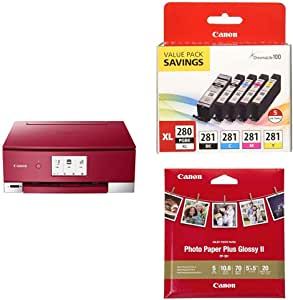Canon TS8320 All in One Wireless Color Printer, Copier, Scanner, Home Inkjet Printer with Canon PGI-280XL/CLI-281 5 Color Ink Pack and Glossy Photo Paper Plus II,5'x5'(20 Sheets), PP-301