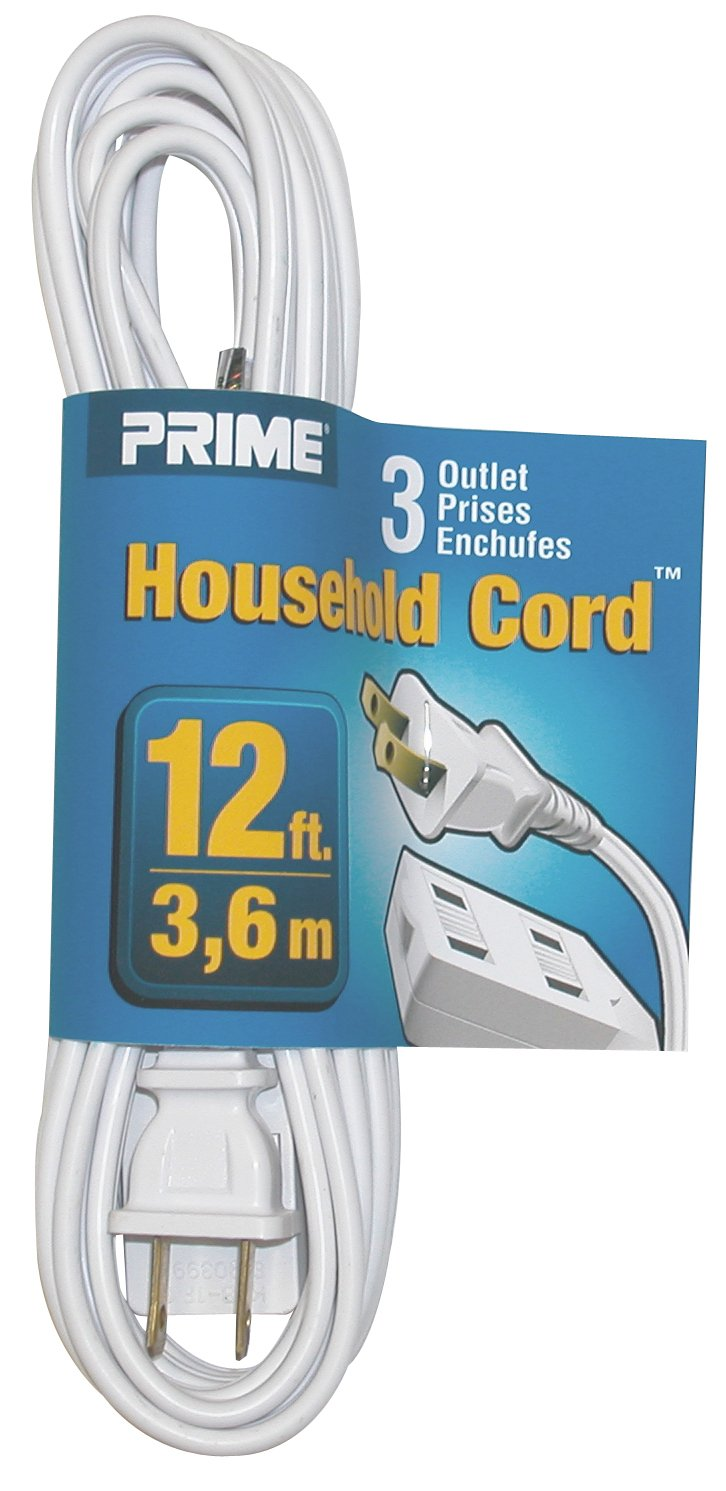Prime Wire Cable Ec660612 12 Foot 16 2 Spt 3 Outlet Indoor Cord House Electrical Wiring On In The Home As White Extension Cords