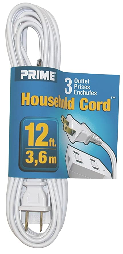 Prime Wire & Cable EC660612 12-Foot 16/2 SPT-2 3-Outlet Indoor Cord ...