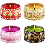 BBTO 4 Pieces Scented Candles Set, Rose, Lavender, Gardenia and Jasmine, Soy Wax Tinplates Candle for Home Bath Spa