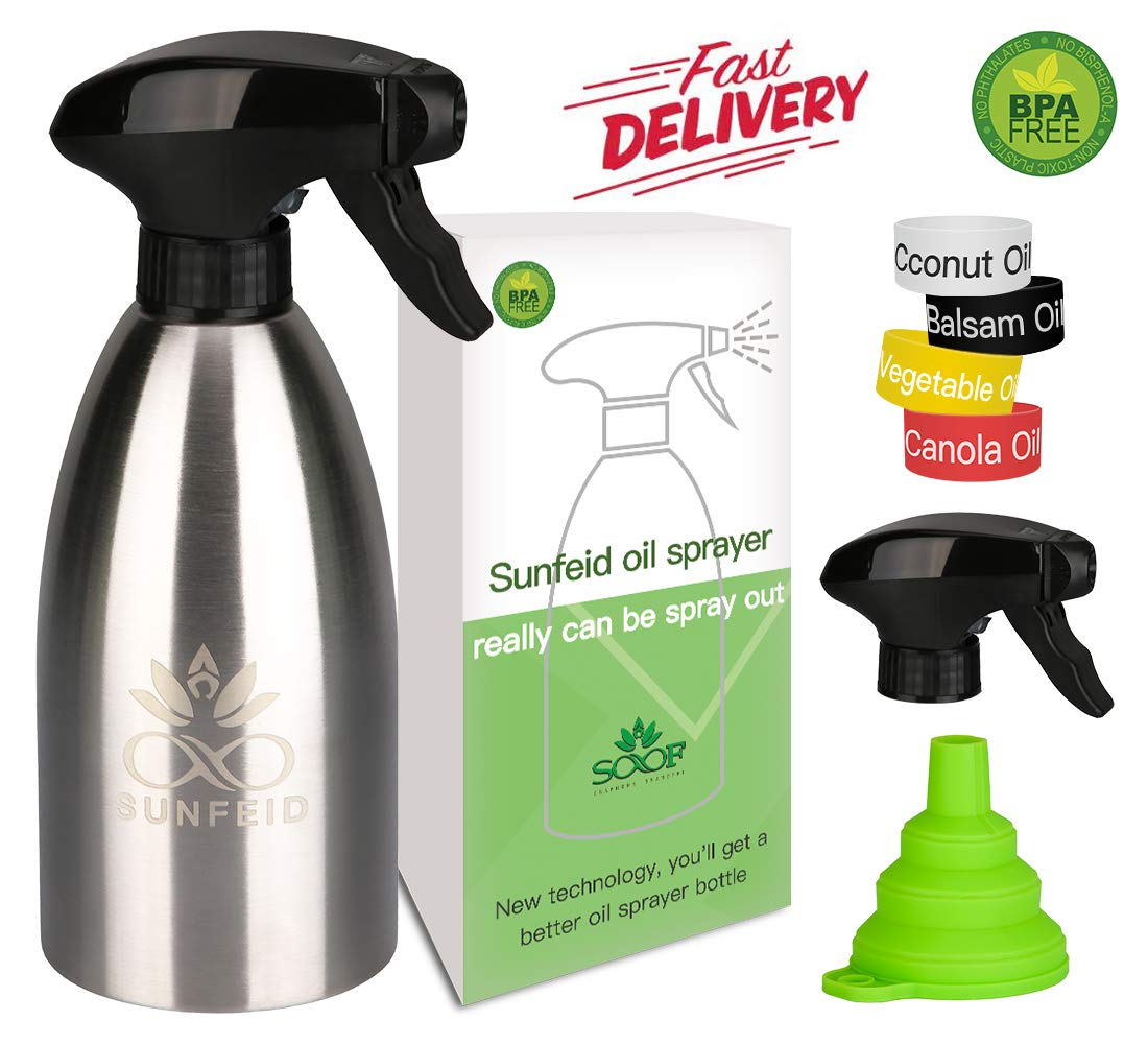 SUNFEID Olive Oil Sprayer Mister Stainless Steel Cooking Oil Dispenser Spray Olive Oil Sprayer for Air Fryer by SUNFEID