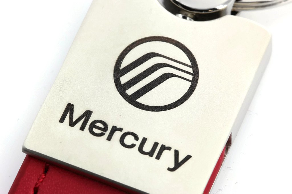 INC Mercury Milan Red Leather Car Fob Key Chain Ring Au-Tomotive Gold
