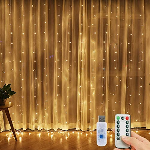 Window Curtain String Lights, 300 LED USB Powered Fairy Lights, 8 Lighting Modes Waterproof Decorative Lights for Wedding, Homes, Garden, Party, Bedroom Outdoor Indoor Wall Decorations 9.8×9.8 Ft