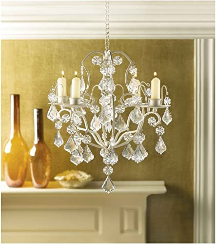 Crystal Chandelier Lighting Ivory Baroque Acrylic Hanging Candle Holder Sold by Winter Sun